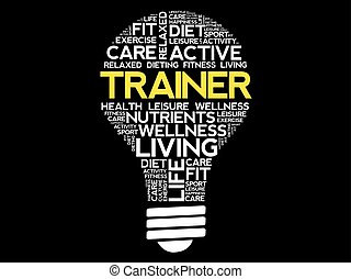 TRAINER bulb word cloud collage, health concept background