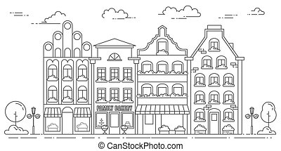 City landscape with houses, trees and clouds. Vector...
