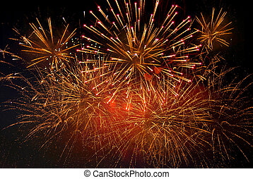 festive fireworks - Bright festive fireworks against a black...