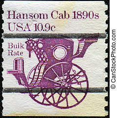 Hansom Cab 1890s - USA - CIRCA 1982: A stamp printed in USA...