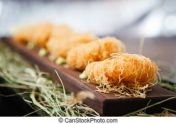 Spring rolls with shrimp with sweet chili sauce. Asian...