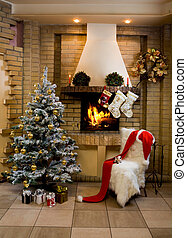 Christmas room - Image of nice comfortable room decorated...