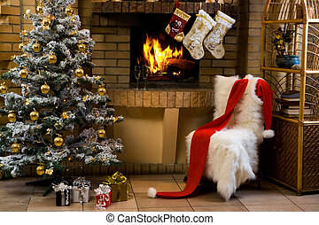 Waiting for Christmas - Christmas room with fireplace,...