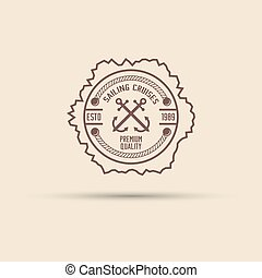 Sea stamp with shown two crossed anchors vintage vector label template