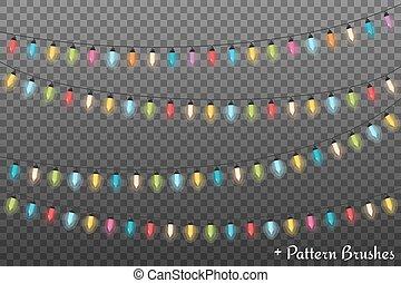 Christmas Lights - Colorful Christmas lights, dark...