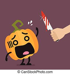 Hand with a knife prepare to cut the funny pumpkin...