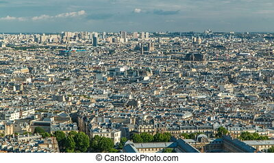 Panorama of Paris timelapse, France. Top view from Sacred...