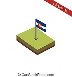 Colorado Isometric map and flag. Vector Illustration.