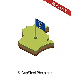 Wisconsin Isometric map and flag. Vector Illustration. -...