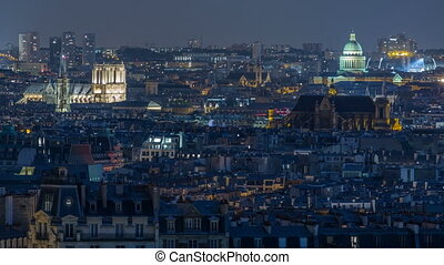 Beautiful Paris night cityscape timelapse seen from...