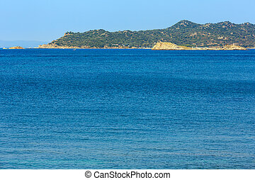 Sea scenery (Chalcidice, Greece). - Sea scenery with camp on...