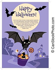 Vector illustration of a cute flying black bat carrying a...