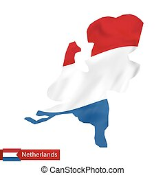 Netherlands map with waving flag of Netherlands.