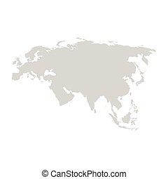 Eurasia continent. Gray vector template. - Eurasia...