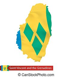 Saint Vincent and the Grenadines map with waving flag of...