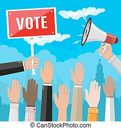 Raised up hands. People vote hands. Voting concept....