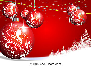 merry christmas - red christmas baubles