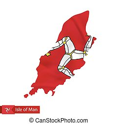 Isle of Man map with waving flag of country. Vector...