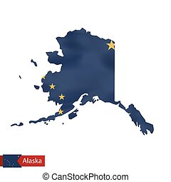 Alaska state map with waving flag of US State.