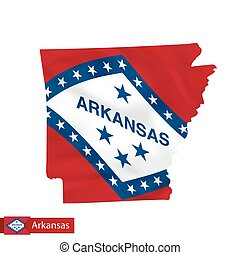 Arkansas state map with waving flag of US State.