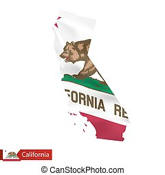 California state map with waving flag of US State.