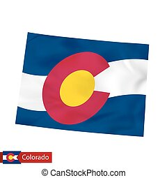 Colorado state map with waving flag of US State.