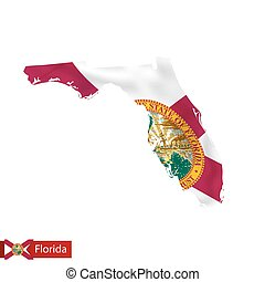 Florida state map with waving flag of US State.