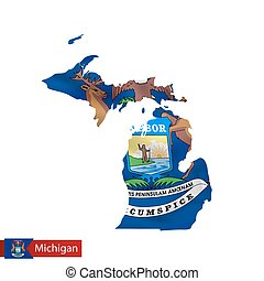 Michigan state map with waving flag of US State. Vector...