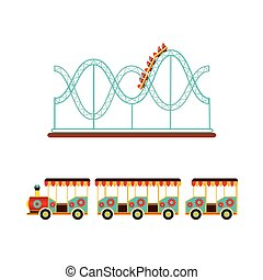 Rollercoaster and train ride in amusement park - Roller...