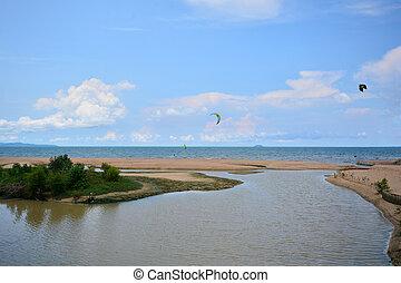 azul, areia, paramotor, sky., sol, sobre, voando, tropicais,...