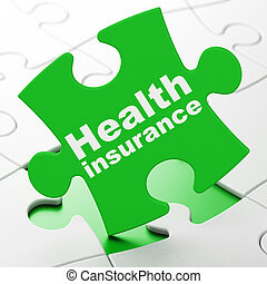 Insurance concept: Health Insurance on puzzle background -...