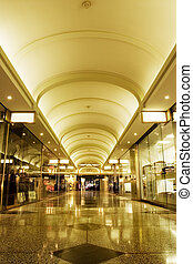 Shopping mall interior - Interior of shopping mall with...