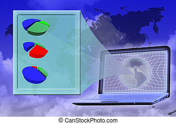 global world analytics: virtual screen with piecharts shown...