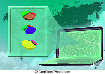 vision: virtual screen with piecharts shown from laptop