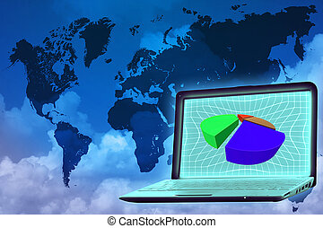 analysis: laptop with piechart on screen over world map