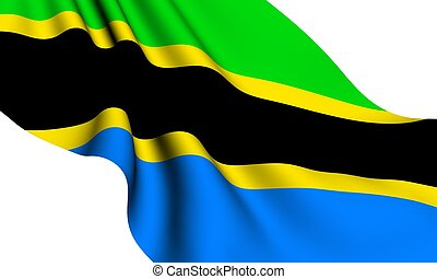 Flag of Tanzania against white background Close up
