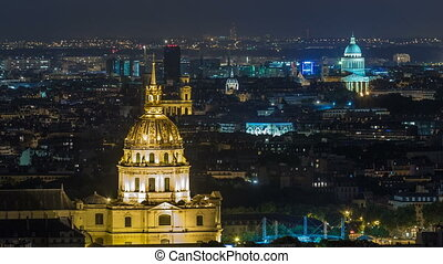 Aerial Night timelapse view of Paris City and Les Invalides...