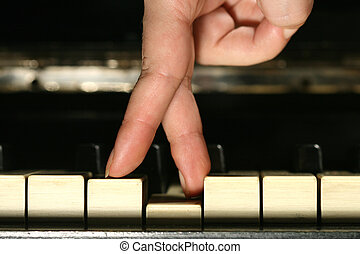 melodic fingers - two fingers on piano keyboard