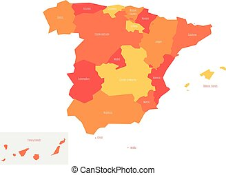 Map of Spain devided to 17 administrative autonomous...