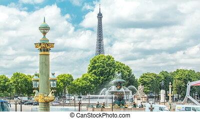 Fontaines de la Concorde on Place de la Concorde timelapse...