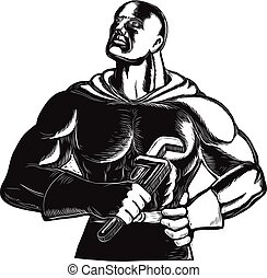 Superhero Plumber With Wrench Woodcut