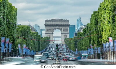 Arc de Triomphe viewed up the Champs Elysees with traffic...