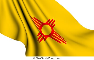 Flag of New Mexico, USA against white background.