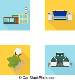Factory, enterprise, buildings and other web icon in flat...