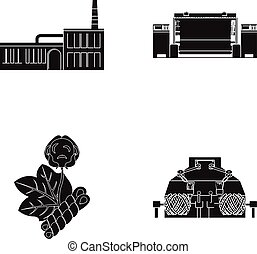 Factory, enterprise, buildings and other web icon in black...