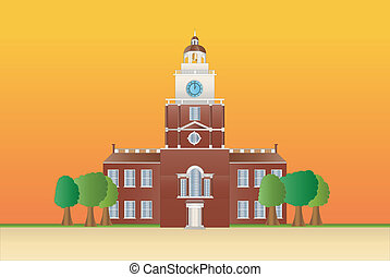 independence hall at sundown - independence hall in...