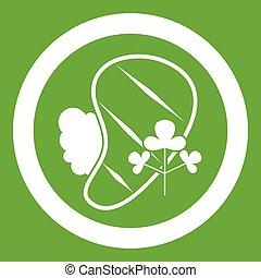 Steak icon green - Steak icon white isolated on green...