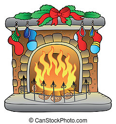 Christmas cartoon fireplace - vector illustration.