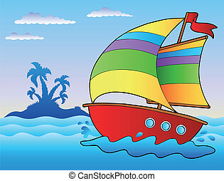 Cartoon sailboat near small island - vector illustration.