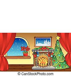 Christmas card with fireplace 2 - vector illustration.